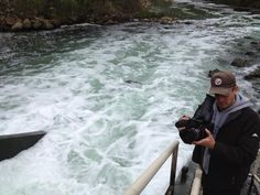 Mark Stitzer filming treated waste water entering Medina River then flowing into the San Antonio River from Dos Rios. 11/15/12