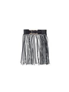 Clean simplicity and dramatic embellishment come together in this striking black fringe belt crafted from cow leather. Finished with a metal buckle and designed to sit at the waist, the belt can be fastened in the front or at the back for different looks. Wear yours over wide-leg trousers or sweeping skirts with an elegant silk T-shirt and chunky heels.