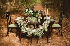 garland on chairs