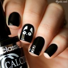 Unique Cat Nails Designs For You 20 Simple Black Nail Art Design Ideas The post Unique Cat Nails Designs For You appeared first on Halloween Nails. Black Nail Art, Black Nails, White Nails, White Manicure, Black Art, Cat Nail Designs, White Nail Designs, Nails Design, Nail Art Halloween