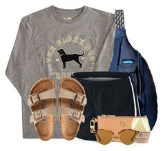 """""""Good morning poly"""" by flroasburn ❤ liked on Polyvore featuring Kavu, NIKE, Birkenstock, Tory Burch, Kendra Scott and Ray-Ban"""