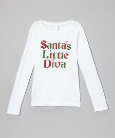Loving this White 'Santa's Little Diva' Tee - Infant, Toddler & Girls on #zulily! #zulilyfinds