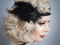 Haarschmuck Federn Haarband 20er Headpiece Schwarz