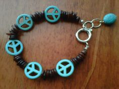 FREE Shipping Turquoise Peace Sign Bracelet by StixxandStones, $15.00