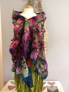 Nuno felted silk scarves - red green navy black purple pink wool felt & silk Shawl wrap, pashmina artsy fibre Art to Wear ooak