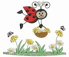 Stitch this cute ladybug design on quilts, clothing, home decor and much more. Simple Embroidery, Custom Embroidery, Embroidery Applique, Embroidery Thread, Lady Bug, Broderie Simple, Ladybug Art, Free Machine Embroidery Designs, Baby Design