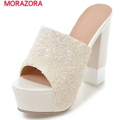 MORAZORA Square heels shoes in summer non-slip solid two colors sandals women platform shoes fashion big size 34-43  #Affiliate