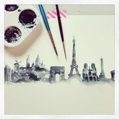 Watercolour Illustration of the Paris Skyline. This will soon be a print for sale in my online shop - drop me an email if you're interested! at www.gemmamilly.com