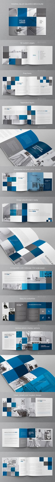 Minimal Blue Squares Brochure Template #design Download: http://graphicriver.net/item/minimal-blue-squares-brochure/11921055?ref=ksioks