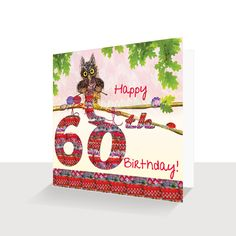 60th Birthday Card Oakley Owl Knitting Hand Finished Unique Greeting Cards Online Buy