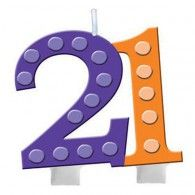 Bright and Bold Candle, 21st Molded Numeral $9.95  20102112