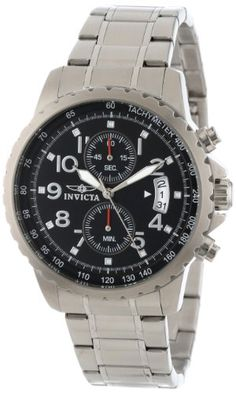 Men's Wrist Watches - Invicta Mens 13783 Specialty Chronograph Black Dial Stainless Steel Watch *** Visit the image link more details.