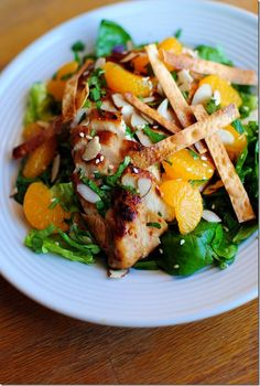 Copycat Panera Asian Sesame Chicken Salad-note: the recipe says bag pre-washed romaine lettuce and baby spinach. I recommend using fresh.