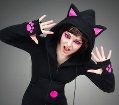 Hoodie black cat pink ears long kitty kawaii by PaperCatsPL, $75.00