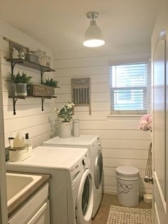 White On White Laundry Room