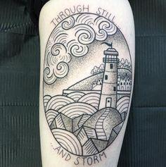 Beautiful lighthouse tattoo by Valeria Marinaci. Photo: Instagram.