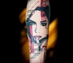 78d2e5340 Abstract Woman Tattoo by Paul Talbot | Tattoo No. 13324 Face Tattoos For  Women,