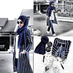 striped long open tunic hijab look- Fashionista hijab trends http://www.justtrendygirls.com/fashionista-hijab-trends/