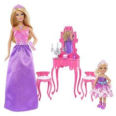Barbie and Chelsea - Getting Ready for the Ball - - Mattel It's a royal ball right out of the box with two dolls in this set! Barbie and Chelsea dolls Doll Clothes Barbie, Barbie Dolls, Barbie Chelsea Doll, Diy Barbie Furniture, My Little Pony Birthday Party, Disney Dolls, Ken Doll, Toys For Girls, Fashion Dolls