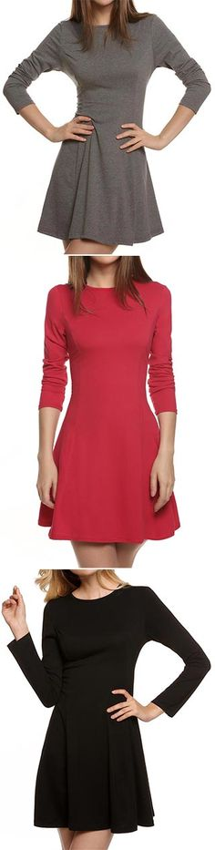 Get the fall basic dress for you here. We love it with a scarf or boots to make a fall street fashion. Check it with amazing price at CUPSHE.COM