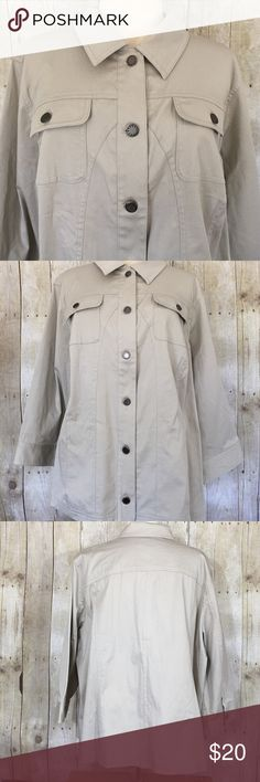 """NWT CJ Banks Jacket This CJ Banks khaki  jacket is new with tag, never worn. No stains or pilling. 6 button front and front vertical pockets. Three quarter length sleeves with button cuffs. Measures 29 1/2"""" across from armpit to armpit and 26"""" long center back from base of collar to hem. 97% cotton and 2% spandex. Please ask questions and check out bundling to save. Christopher & Banks Jackets & Coats"""