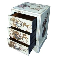 Creamy Leather Three Drawers Bedside - Open View