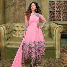 Soft Pink Silky Net, Georgette Anarkali