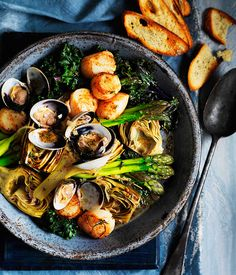 French Barigoule of artichokes, asparagus and kale with scallops and clams!