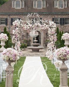 Elegant backyard mansion wedding ceremony; Via Rachel A. Clingen Wedding & Event Design