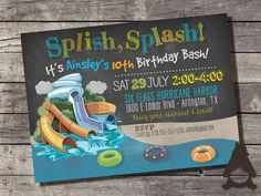 Waterpark Party Invitation, Water Slide Party, Wave Pool, Splash Pool, Inner Tube, Printable Invitation for Kids Birthday Party