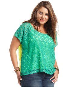 Soprano Plus Size Top, Short-Sleeve Lace Neon - Plus Size Tops - Plus Sizes - Macy's