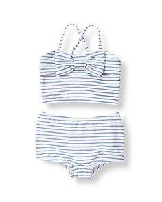 702490528b Bow Striped Bikini Kids Bathing Suits