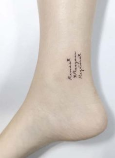 Ankle Tattoos Ideas for Women: Slim Lettering Ankle Tattoo