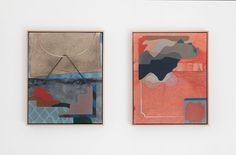 Kate Tucker, Installation view, Painting Revealed at Sutton Projects, L-R;  Constancy , 2016, flashe, spray paint, acrylic and oil on calico and digitally printed linen,41 x 52cm unframed. Turn Aside , 2016, flashe, spray paint, acrylic and oil on calico and digitally printed linen,41 x 52cm unframed. Photo by Clare Rae.