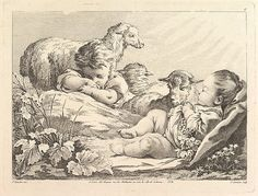 Two Sleeping Children With Three Sheep