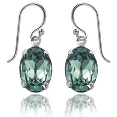 Swarovski crystal earrings in Erinite. Shop our range of 36 gorgeous colours | Amanda Jo #green #muted #seagrass