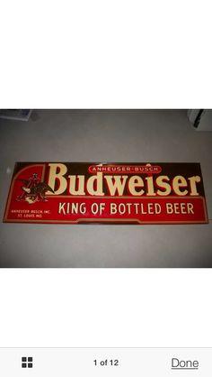 Budweiser vintage metal beer sign