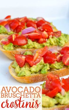 A fresh and light appetizer recipe that everyone will love - Avocado Bruschetta Crostinis! Plus, they're easy to make. Light Appetizers, Appetizer Recipes, Snack Recipes, Healthy Cooking, Cooking Recipes, Healthy Recipes, All You Need Is, Avocado Recipes, Appetisers