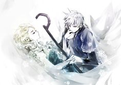 Frozen's Elsa and Rise of the Guardians' Jack Frost