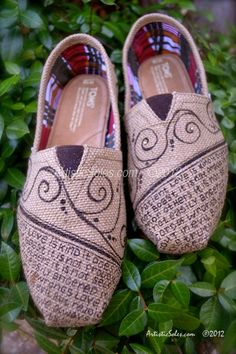 "Custom TOMS Shoes - ""What is Love"" Theme - Beautiful Burlap. $135.00, via Etsy."