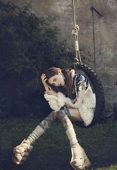 Photography by Danil Golovkin for Instyle Magazine. Do you think a tire swing is a new and innovative prop for a fashion photo shoot? Folk Fashion, Fashion Art, Fashion Looks, High Fashion, Hippie Style, Fashion Shoot, Editorial Fashion, Magazine Editorial, Portrait Photography
