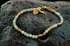 Aquamarine and Gold Beaded Bracelet18K goldgenuine by JunamJewelry
