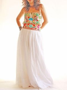 Handmade Mexican embroidered dresses and vintage treasures from Aida Coronado Nature lover dress white gypsy cotton long dress A heart in every piece