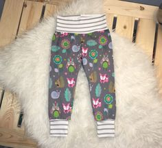 Size- Beautiful soft wildlife print on on a dark gray jersey knit! The perfect material to make the sweetest baby leggings! Cuffed with a white and gray striped knit! Baby Girl Leggings, Wildlife, Sweatpants, Etsy Shop, Trending Outfits, Shopping, Fashion, Moda, Fashion Styles