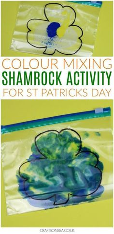 This colour mixing activity for St Patricks Day is super easy but it's easy to change up for older kids too by using your squish bag for mark making or letter formation practice or it can be used as a sensory play activity for younger kids. March Crafts, St Patrick's Day Crafts, Daycare Crafts, Baby Crafts, Toddler Crafts, Toddler Activities, Daycare Games, Toddler Art, Daycare Ideas