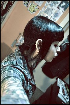 Chelsea, Goth, Punk, Black, Hair | The overall dark essence of the hair, piercings, and eyeshadow is working.