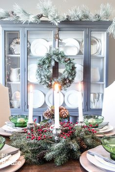 Christmas Home Tour 2015 with Country Living Magazine | St. Lucia Day inspired table centerpiece