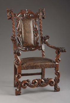 A Venetian Rococo Style Carved Walnut Armchair. . Unknown maker,Italian. 19th century.