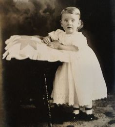 Darling Real Person Photograph Postcard w/ Child & Antiques MINT