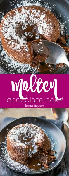Molten chocolate cake is such an easy dessert recipe! These rich, individual chocolate cakes have warm chocolate lava inside. Great for Valentine's Day dessert! Warm Chocolate Melting Cake Recipe, Chocolate Lava Cake, Chocolate Desserts, Dessert Simple, Cake Recipes, Dessert Recipes, Chocolate Fundido, Molten Lava Cakes, Valentines Day Desserts